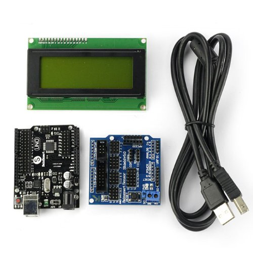 Sainsmart C74 Kit With Uno R3 Black + Sensor V5 + Lcd2004 Yellow For Arduino Uno Mega R3 Mega2560 Duemilanove Nano Robot