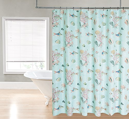 Regal Home Collections Shell And Fish Printed Fabric Shower Curtain 70 By 72 Inch Aqua