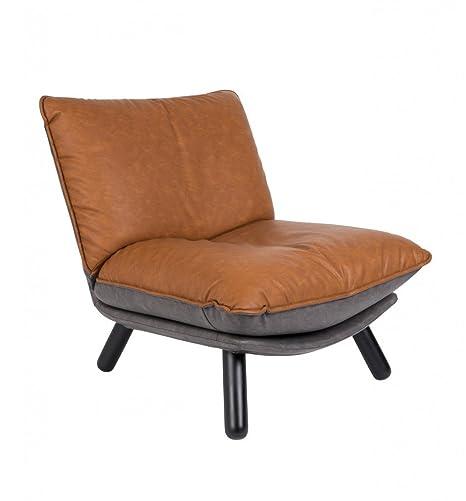 Fauteuil lounge simili cuir Lazy Sack Zuiver - Couleur - Cognac
