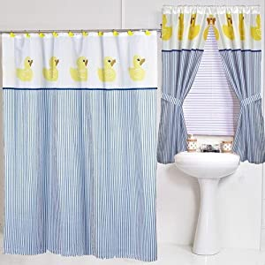 Yellow Duck Ducky Themed Fabric Shower Curtain Blue Yellow Striped Cute Brand New