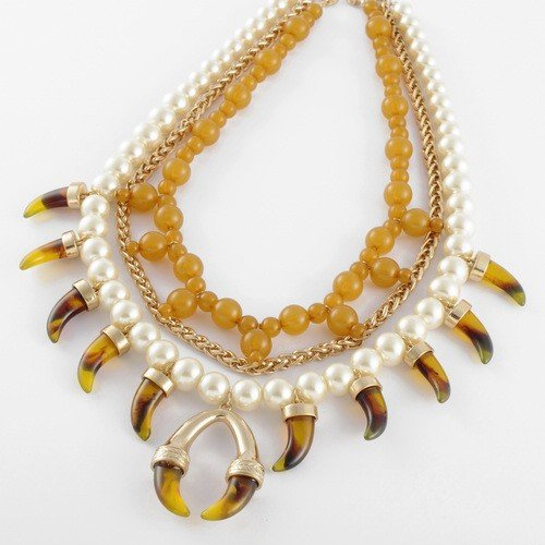 Fashion Golden Chain White Pearl Coffee Clear Horn Resin Beads Pendant Statement Necklace