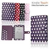 """eLifeStore� Stylish Polka Dot Kindle Touch / Kindle Paperwhite PREMIUM Leather Case Flip Cover Wallet with Magnetic Flap Closure for New 2012 Amazon Kindle Touch / Kindle Paperwhite Wi-Fi 3G 6"""" inch - Book Style (Purple and White Polka Dot)by eLifeStore"""