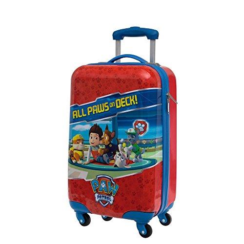Paw Patrol Paw On Deck Bagaglio a Mano in ABS Trolley Rogido colore Rosso, 4 Ruote girevoli, 55 cm