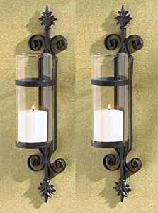 Amazon.com: 2 Black Iron French Hurricane Candle Holder Wall Sconce: Home & Kitchen