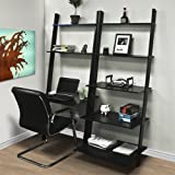 Leaning Shelf Bookcase with Computer Desk Office Furniture Home Desk Solid Wood