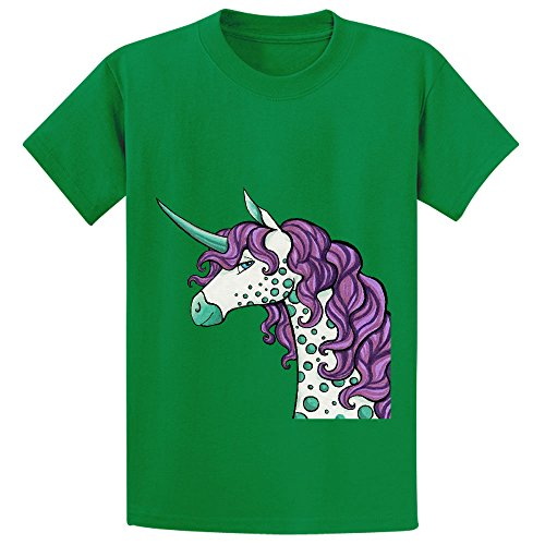 Ouerbo Spotted Unicorn Unisex Crew Neck Graphic Tee Green