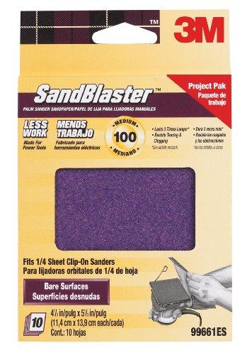 3M SandBlaster 99661ES 100-Grit Palm Sander Sheets, 10-Pack