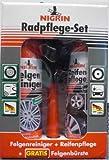 Nigrin 97300 Radpflege Set: 1 x NIGRIN Felgenreiniger á 300 ml, 1 x NIGRIN Reifenpflege á 300 ml, 1 x GRATIS NIGRIN Felgenbürste
