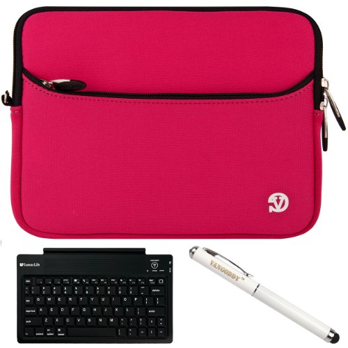 "Magenta Vg Neoprene Sleeve Cover For Barnes & Noble Nook Hd+ Slate 9"" Tablet (16Gb 32Gb) + Executive Laser Stylus Pen With Led Light + Sumaclife Bluetooth Wireless Keyboard + Sumaclife Tm Wisdom Courage Wristband front-972290"
