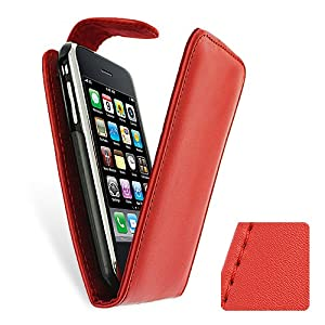 Red PU Leather Flip Case Cover for Apple iPhone 3G 3GS