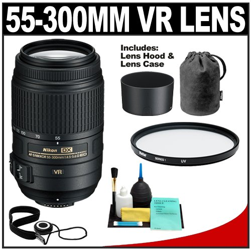 Nikon 55-300mm f/4.5-5.6G VR DX AF-S ED Zoom-Nikkor Lens with HB-57 Hood & Pouch Case + Filter + CapKeeper + Cleaning Kit for D40, D60, D90, D300s, D3000, D3100, D5000 & D7000 Digital SLR Cameras