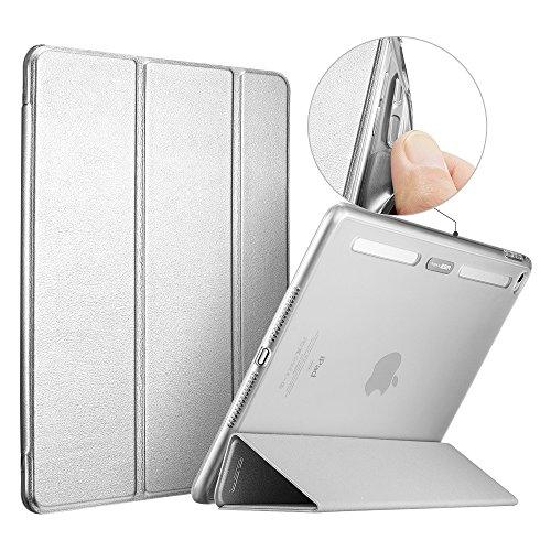 iPad Air 2 Case, ESR [Corner/Bumper Protection] Smart Cover Case with Soft TPU Bumper and Auto Wake/Sleep Function for iPad Air 2 / iPad 6 (Metallic Silver)