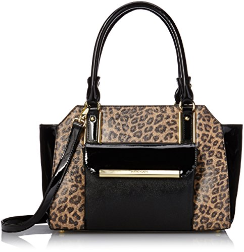 Anne Klein Shimmer Down Satchel Handbag, Camel Multi/Black/Black, One Size