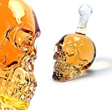 Foxnovo 350ML Crystal Skull Head Shaped Glass Wine Bottle Decanter