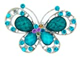 BB Accessories Diamante Double Butterfly Brooch - Blue/Silver