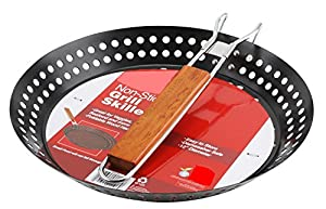 Non Stick Grilling Skillet with Foldable Handle - 12 inch Diameter