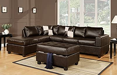 Bobkona Soft-Touch Reversible Bonded Leather Match 3-Piece Sectional Sofa Set