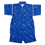 甚平ベビー男の子綿100%日本製生地花火和柄甚平スーツ(じんべい)子供甚平ブルー90cm