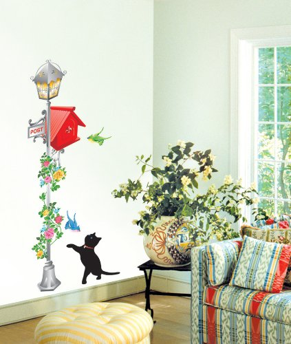 Jiniy CAT & POSTBOX WALL ART DECOR Mural Decal STICKER(JKR0012)
