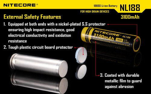 NITECORE NL188 3100mAh Protected 18650 Rechargeable Battery - Designed for TM26 TM15 TM11 and other High Drain Devices