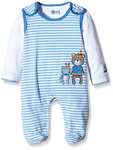 Eltern by Salt & Pepper Baby - Jungen Strampler E NB Playsuit Indian stripe, Gestreift, Gr. 62, Blau (milky blue...