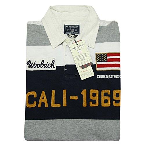 A0906 polo uomo WOOLRICH bianco/grigio/blu for winter t-shirt long sleeve men [M]