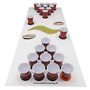 "Beer Pong Set ""White"" inklusive Spielfeld, 25 Red Solo Cups, 4 Beerpong Bälle & mehr, die Alternative zum Beer Pong Tisch (Medium)"