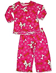 Sara\'s Prints - Baby Girls Long Sleeve Dogs and Bones Pajamas, Raspberry 35220-24Months