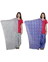 Indistar Women's Cotton Patiala Salwar With Dupatta Combo (Pack Of 2 Salwar With Dupatta) - B01HRK77BU