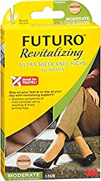 Futuro Revitalizing Ultra Sheer Knee Highs, Nude, Medium, Moderate (15-20 mm/Hg)