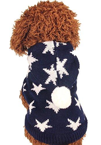 La Vogue-Maglioni per Cane con Stella Felpe con Cappuccio Cane Abito per Natale Busto 28cm Blu