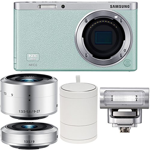Samsung Nx Mini Smart Wi-Fi Digital Camera With 9-27Mm & 9Mm Lenses, Flash & Case (Green) front-64094