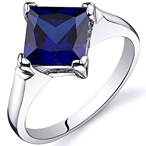 Striking 2.50 carats Blue Sapphire Engagement Ring in Sterling Silver Rhodium Finish Size 6, Available in Sizes 5 thru 9 from Peora