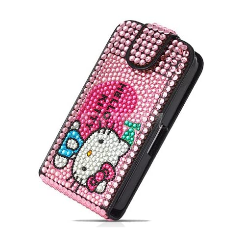 HELLO KITTY LEATHER BLING FLIP CASE FOR iPHONE 4 Cell Phones