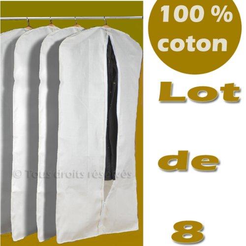 100 naturel x 8 housse coton v tements costume manteau. Black Bedroom Furniture Sets. Home Design Ideas