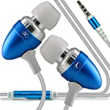 ONX3 Nokia C2-01 Premium Quality in Ear Buds Stereo Hands Free Headphones Headset with Built in Microphone Mic & On-Off Button ( Baby Blue )