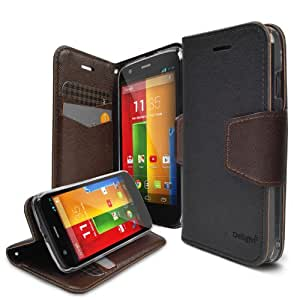 Moto G Case - Ringke DELIGHT Case [Free HD Film][BLACK] Premium PU Saffiano Leather Standing View Diary Case Flip Cover for Motorola Moto G 1st Gen. 2013 - Eco Package
