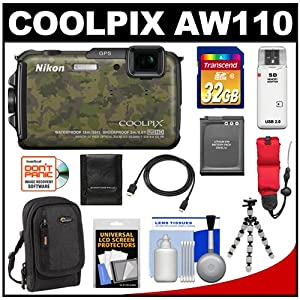 Nikon Coolpix AW110 Shock & Waterproof GPS Wi-Fi Digital Camera (Camouflage) with 32GB Card + Battery + Case + Float Strap + HDMI Cable + Flex Tripod + Accessory Kit
