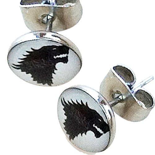 Game Of Thrones Direwolf 8 millimetri in acciaio inox Orecchini. In bianco e nero in REGALO
