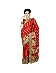 Fancy Aristocratic Maroon Colored Embroidered Faux Georgette Saree By Triveni