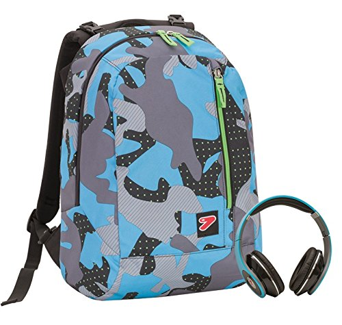 2 in 1 Zaino Reversibile SEVEN THE DOUBLE - COLOR CAMOUFLAGE - Blue - cuffie stereo con grafica abbinata incluse!