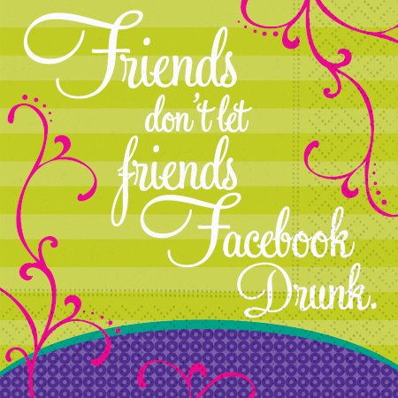 Friends Don't Let Friends Facebook Drunk Beverage Cocktail Napkins Party Supply