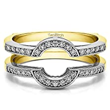 buy 0.38 Ct. Cz Round Shaped Classic Style Halo Wedding Ring Guard In Two Tone Silver (3/8 Ct. Twt.)