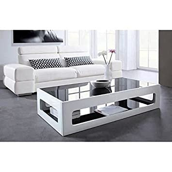 CRAVOG Table basse rectangulaire 120x60cm laquée blanc brillant