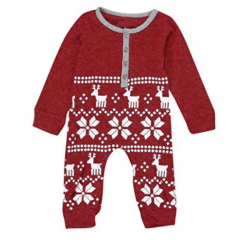 Culater® Natale cervi delle ragazze dei neonati Knit pagliaccetto della tuta Outfits (70, Rosso)