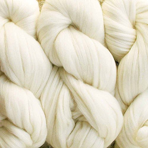 Living Dreams ELEGANCE Chunky Merino Silk Yarn for Needle Knitting and Crochet. Super Bulky Pencil Roving Yarn. Extra Soft Merino Wool Tussah Silk Blend. 4 Ounce 71 Yards, Ivory (Super Thick Yarn compare prices)