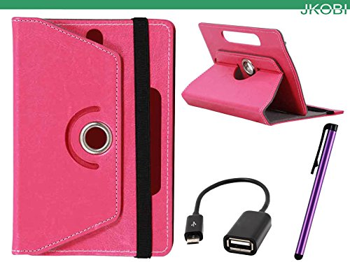 Jkobi Combo of Tablet Book Flip Flap Case Cover With OTG Cable & Stylus Pen Compatible For Lenovo Ideatab A3000 -Pink  available at amazon for Rs.245