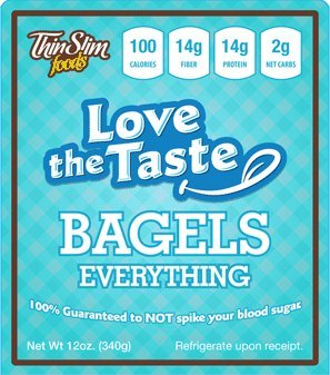 ThinSlim Foods 100 Calorie, 2g Net Carb, Love The Taste Low Carb Everything Bagels (Thin Slim Bread compare prices)