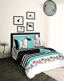 Tangerine Tangy Gold Midnight Rouge 210 TC Cotton 3 Bedsheets - King Size, White and Black