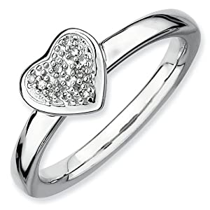 Sterling Silver Stackable Expressions Heart Rough Diamond Ring - Size 9 - JewelryWeb